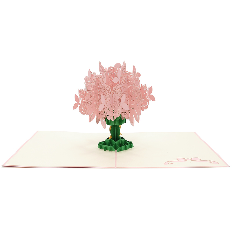 FL006R-Rose kirigami card, custom pop up Card, flower pop up gift, birthday kirigami card (4)