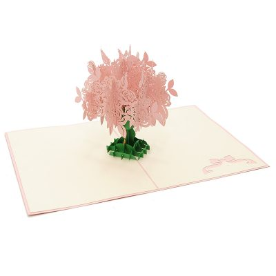 FL006R-Rose kirigami card, custom pop up Card, flower pop up gift, birthday kirigami card (5)