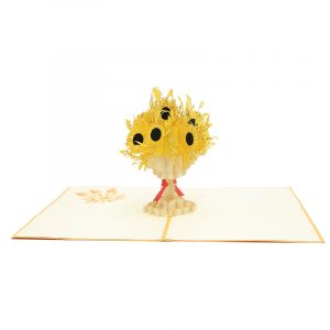 FL040-Sunflower pop up card, mother's day origami cards supplier, kirigami card Deutschland (3)