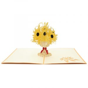 FL040-sunflower pop up card, kirigami card, birthday kirigamicard wholesale (1)