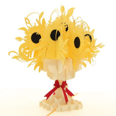 FL040-sunflower pop up card, kirigami card, birthday kirigamicard wholesale (2)