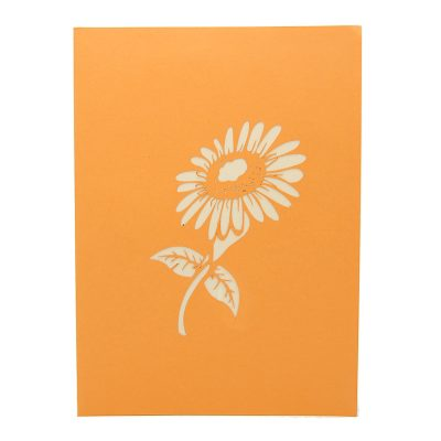 FL040-sunflower pop up card, kirigami card, birthday kirigamicard wholesale (3)