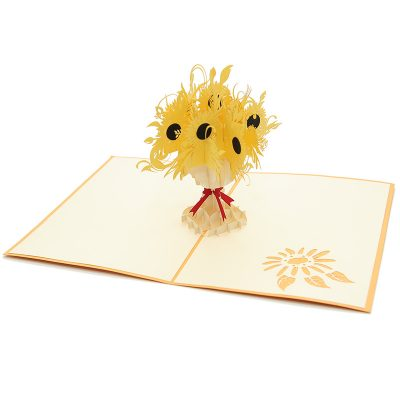 FL040-sunflower pop up card, kirigami card, birthday kirigamicard wholesale (4)