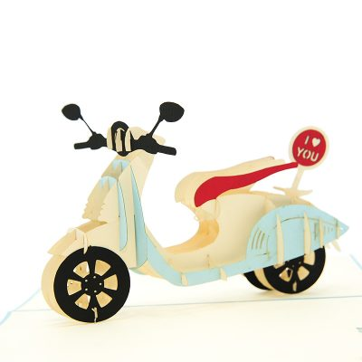 FS078L-Love Vespa pop up card, custom new design, birthday pop up cards manufacturer, pop up card idea (1)