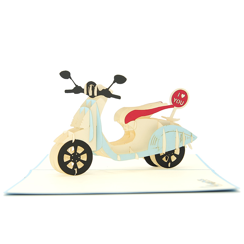 FS078L-Love Vespa pop up card, custom new design, birthday pop up cards manufacturer, pop up card idea (4)