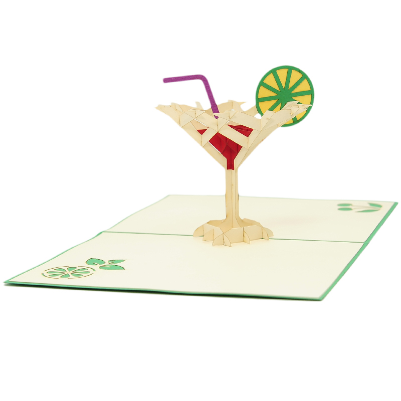 FS096G-Cocktail pop up card, summer vibes 3D cards supplier, pop up card wholesale, pop up card manufacturer (4)