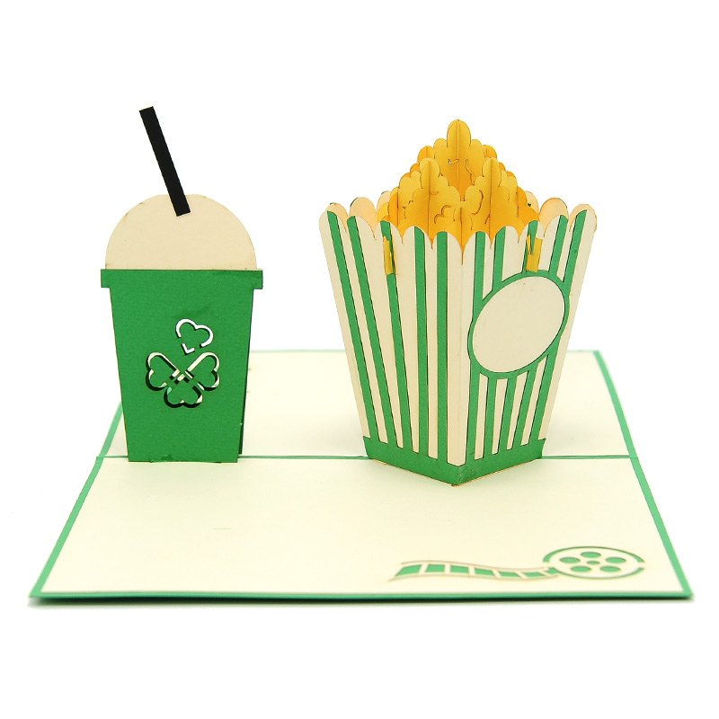 FS098-Movie night pop up card, pop up card manufacturer, wedding cards- birthday pop up card- cinema card- popcorn kirigami card (1)