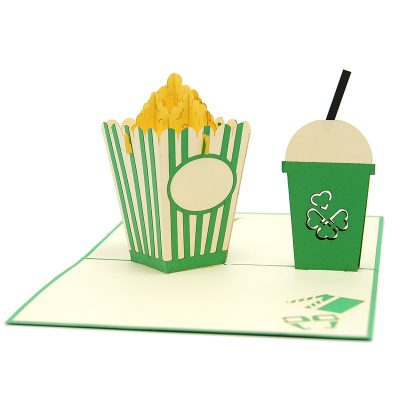 FS098-Movie night pop up card, pop up card manufacturer, wedding cards- birthday pop up card- cinema card- popcorn kirigami card (3)