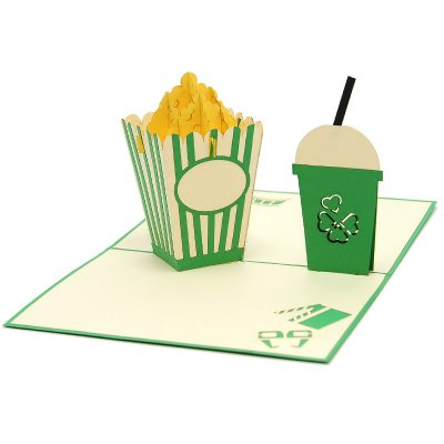 FS098-Movie night pop up card, pop up card manufacturer, wedding cards- birthday pop up card- cinema card- popcorn kirigami card (5)