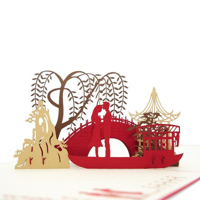 LV048- Love Date pop up card- love kirigami card- 3D card wholesale- pop up card manufacturer- charmpop (1)
