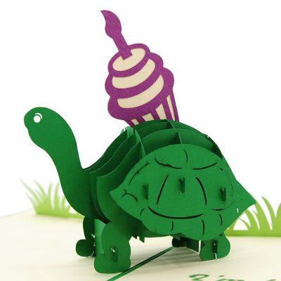 BG071- Cupcake turtle pop up card- turtle pop up card- pop up card wholesale- pop up card manufacturer- kirigami card supplier- kirigami card vietnam- pop up card vietnam (3)