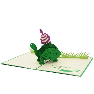 BG071- Cupcake turtle pop up card- turtle pop up card- pop up card wholesale- pop up card manufacturer- kirigami card supplier- kirigami card vietnam- pop up card vietnam (4)