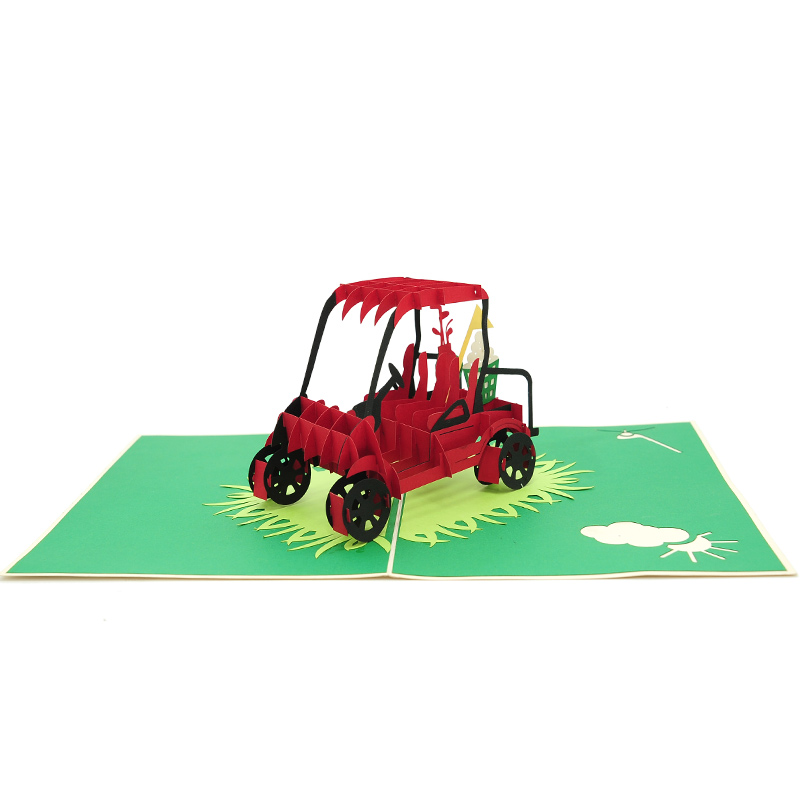 FS101 Club car pop up card – golf car pop up card- golf kirigami card – pop up card wholesale- pop up card manufacturer- kirigami card supplier- kirigami card vietnam- pop up card vietnam (3)