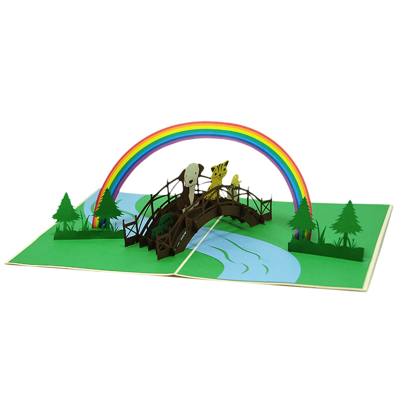 FS102-Rainbow animal pop up card- birthday animal pop up card- pop up card for kids- pop up card wholesale- pop up card manufacturer- kirigami card supplier- kirigami card vietnam- pop up card viet