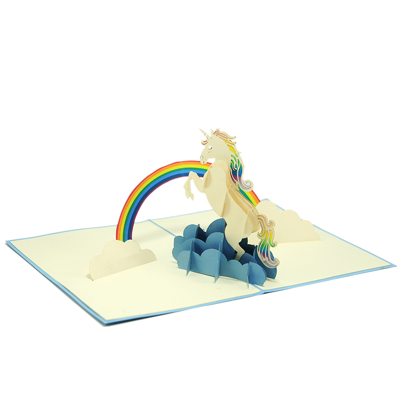 FS103 Unicorn pop up card- unicorn kirigami card- unicorn 3D card – magical unicorn card – pop up card wholesale- pop up card manufacturer- kirigami card supplier- kirigami card vietnam (3)