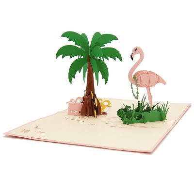 FS104 Flamingo pop up card- flamingo kirigami card- pop up card for her- pop up card wholesale- pop up card manufacturer- kirigami card supplier- kirigami card vietnam- pop up card vietnam (1)
