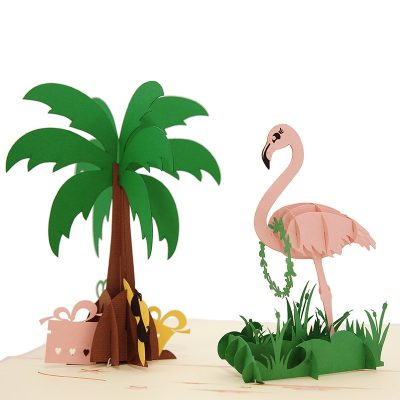 FS104 Flamingo pop up card- flamingo kirigami card- pop up card for her- pop up card wholesale- pop up card manufacturer- kirigami card supplier- kirigami card vietnam- pop up card vietnam (2)