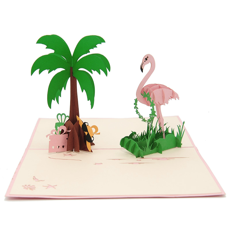 FS104 Flamingo pop up card- flamingo kirigami card- pop up card for her- pop up card wholesale- pop up card manufacturer- kirigami card supplier- kirigami card vietnam- pop up card vietnam (4)
