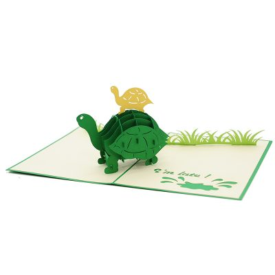 FS105 Turtle Mother pop up card- new baby popup card- turtle pop up card- pop up card wholesale- pop up card manufacturer- kirigami card supplier- kirigami card vietnam- pop up card vietnam (1)