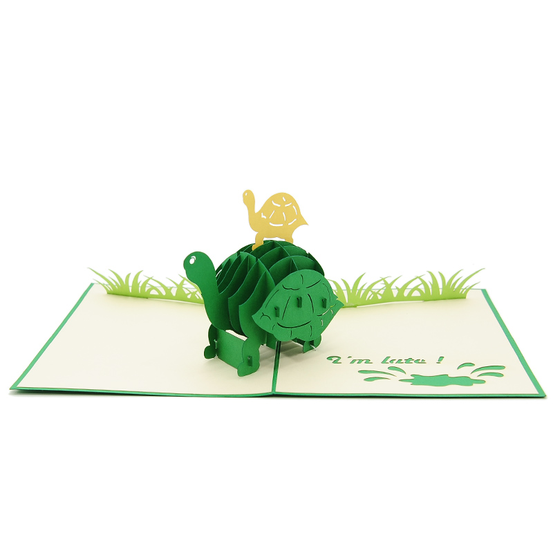 FS105 Turtle Mother pop up card- new baby popup card- turtle pop up card- pop up card wholesale- pop up card manufacturer- kirigami card supplier- kirigami card vietnam- pop up card vietnam (2)