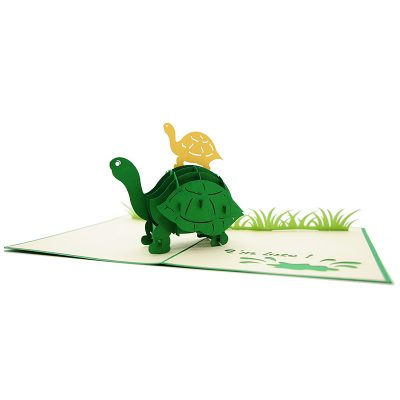FS105 Turtle Mother pop up card- new baby popup card- turtle pop up card- pop up card wholesale- pop up card manufacturer- kirigami card supplier- kirigami card vietnam- pop up card vietnam (3)