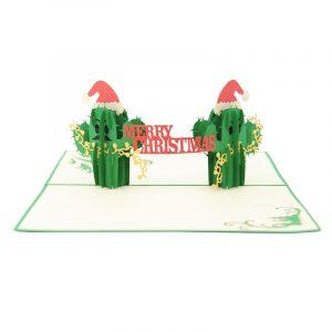 Christmas Cactus twin pop up card- pop up card wholesale-pop up card manufacturer-christmas pop up card (3)