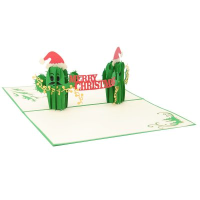 Christmas Cactus twin pop up card- pop up card wholesale-pop up card manufacturer-christmas pop up card (4)