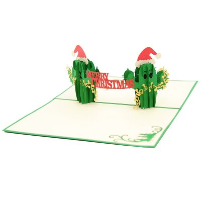 Christmas Cactus twin pop up card- pop up card wholesale-pop up card manufacturer-christmas pop up card (5)