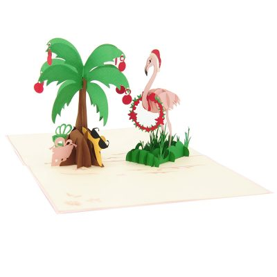 Christmas Flamingo pop up card-pop up card wholesale-pop up card manufacturer-christmas pop up card (2)