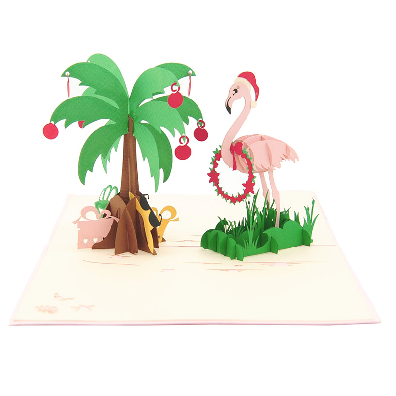 Christmas Flamingo pop up card-pop up card wholesale-pop up card manufacturer-christmas pop up card (3)