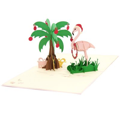 Christmas Flamingo pop up card-pop up card wholesale-pop up card manufacturer-christmas pop up card (4)