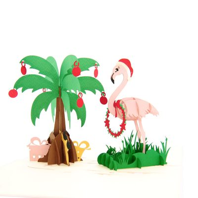 Christmas Flamingo pop up card-pop up card wholesale-pop up card manufacturer-christmas pop up card (5)