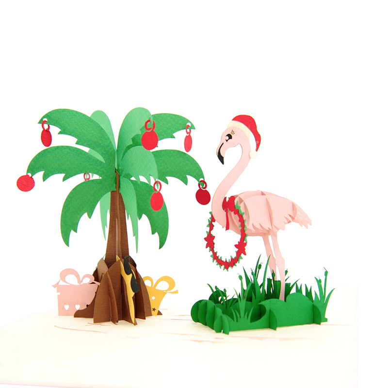 christmas flamingo pop up card christmas pop up card high quality wholesale pop up card manufacturer pop up card deutschland - Flamingo Christmas