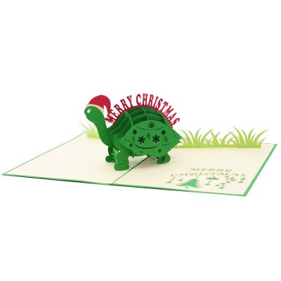 Christmas turtle pop up card-pop up card wholesale-pop up card manufacturer-christmas pop up card (4)