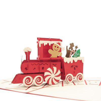 Gingerbread Train pop up card-pop up card wholesale-pop up card manufacturer-christmas pop up card (1)