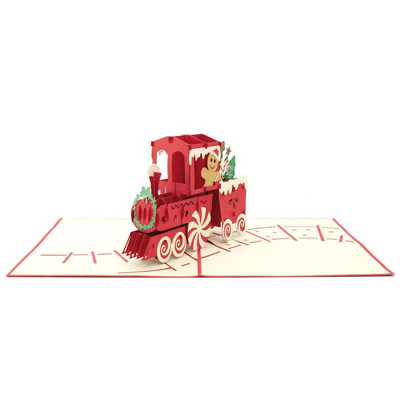 Gingerbread Train pop up card-pop up card wholesale-pop up card manufacturer-christmas pop up card (3)