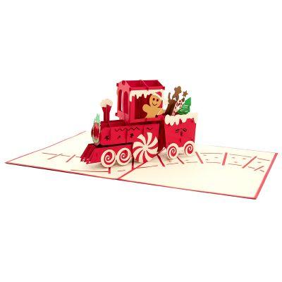 Gingerbread Train pop up card-pop up card wholesale-pop up card manufacturer-christmas pop up card (4)
