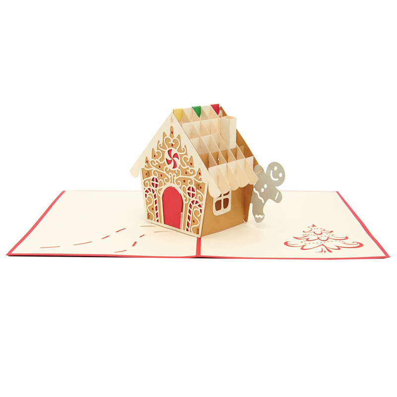 Gingerbread house pop up card-pop up card wholesale-pop up card manufacturer-christmas pop up card (2)
