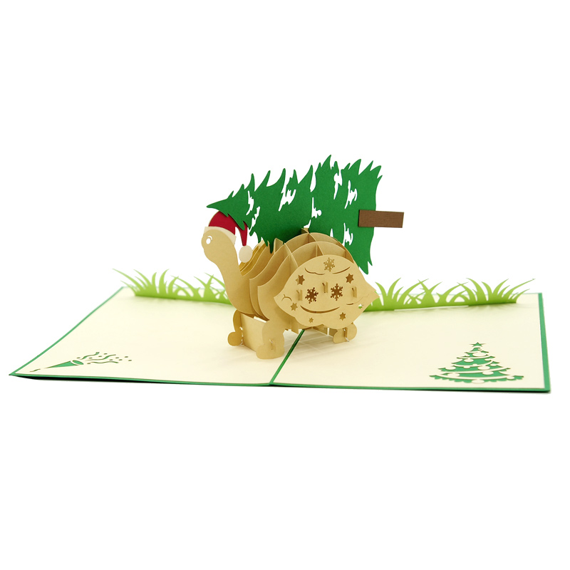 Pinetree turtle pop up card, Christmas pop up card high quality ...