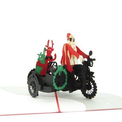 Santa side car pop up card-pop up card wholesale-popupcard manufacturer-Christmas pop up card (1)