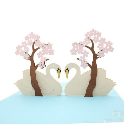 Swan couple pop up card–pop up card wholesale-popupcard manufacturer-Christmas pop up card (1)