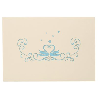 Swan couple pop up card–pop up card wholesale-popupcard manufacturer-Christmas pop up card (2)