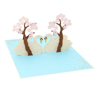 Swan couple pop up card–pop up card wholesale-popupcard manufacturer-Christmas pop up card (3)
