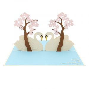 Swan couple pop up card--pop up card wholesale-popupcard manufacturer-Christmas pop up card (4)