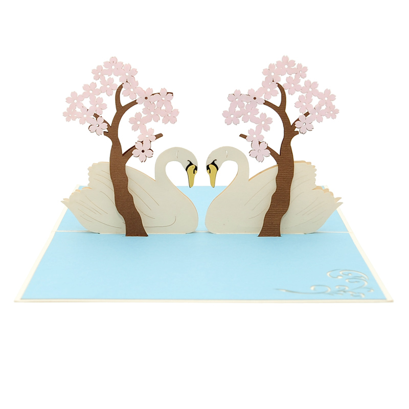 Swan couple pop up card–pop up card wholesale-popupcard manufacturer-Christmas pop up card (4)