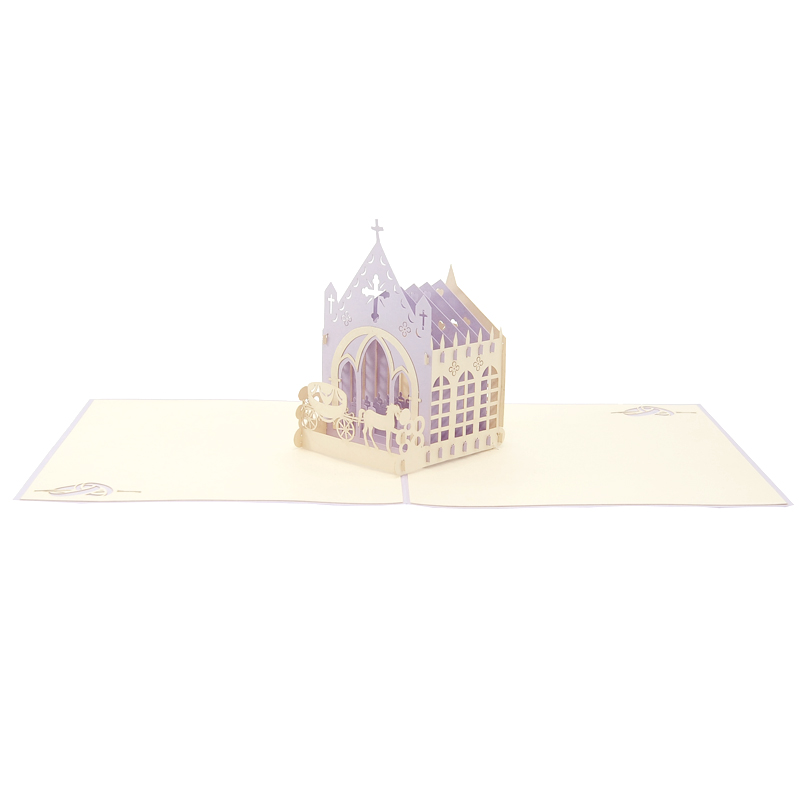 Wedding church pop up card-pop up card wholesale-popupcard manufacturer-wedding pop up card (3)