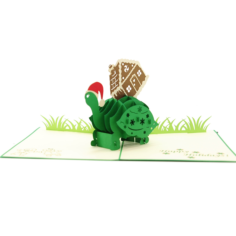 Xmas turtle pop up card-pop up card wholesale-pop up card manufacturer-christmas pop up card (1)