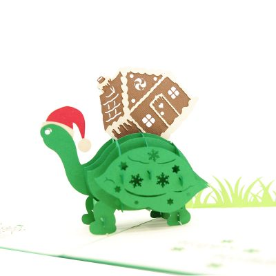 Xmas turtle pop up card-pop up card wholesale-pop up card manufacturer-christmas pop up card (5)