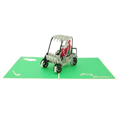 santa golf pop up card- pop up card wholesale- pop up card manufacturer- pop up card Christmas-christmas 3d card (4)