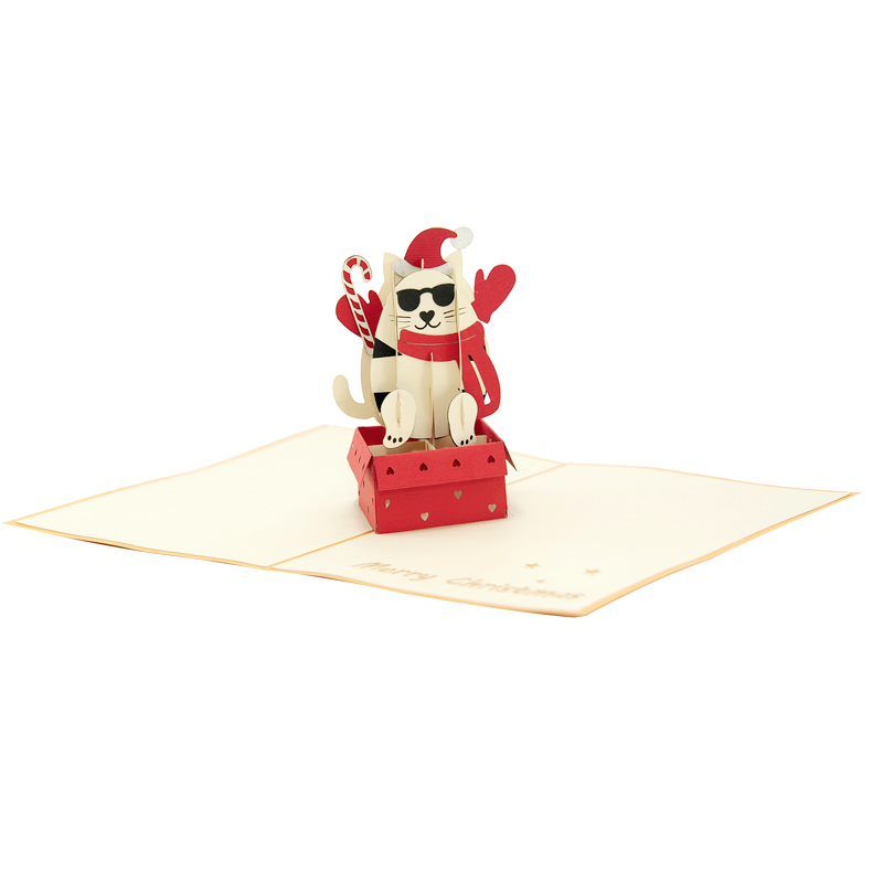Christmas Kitten Pop Up Card, Pop Up Christmas Card, 3d
